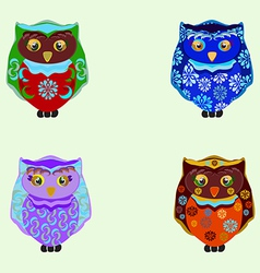 Small colored owls vector