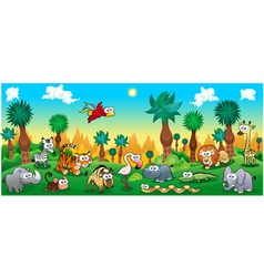 Green forest with funny wild animals vector