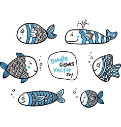 Set of black and white fishes in doodle ink style vector