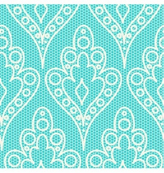 White lace on teal background vector