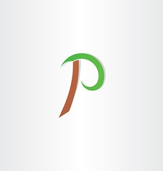 Letter p vecror icon brown green symbol vector