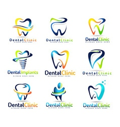 Dental dentist logo set vector