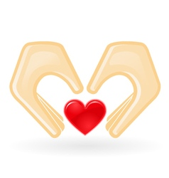 Charity and custody concept - hands with heart vector