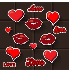 Love lips heart sticker vector