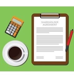Shareholder agreement clipboard with document cup vector