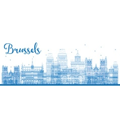Outline brussels skyline with blue buildings vector