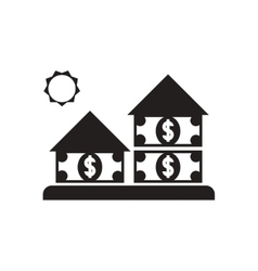 Flat icon in black and white house money vector