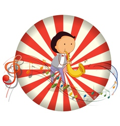 A boy playing with a musical instrument with vector