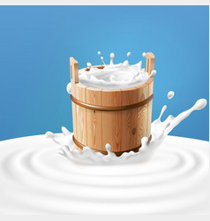 A wooden bucket with milk vector