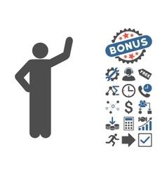Assurance pose flat icon with bonus vector