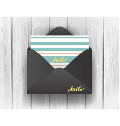 black opened envelope with hello lettering on vector image vector image