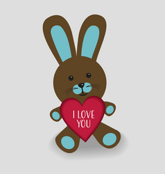 Blue bunny with heart i love you vector