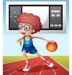 Boy playing basketball in the field vector image vector image