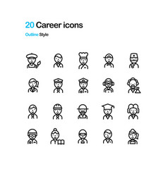 career icons vector image vector image