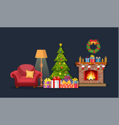 christmas fireplace room interior vector image