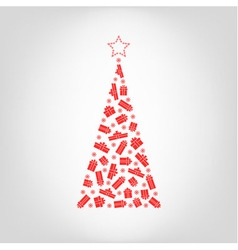 christmas tree from red gift box and snowflake vector image vector image