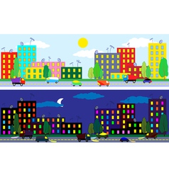 city night and day vector image vector image