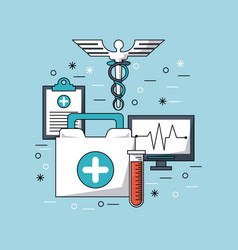 Color background with medical symbol and icons vector