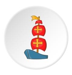 Columbus ship icon cartoon style vector image vector image
