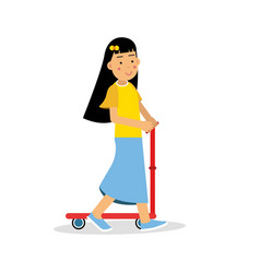 cute brunette girl riding a kick scooter cartoon vector image
