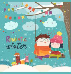 Cute winter cartoon couple swinging vector