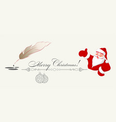 drawing of santa claus feather and christmas vector image vector image