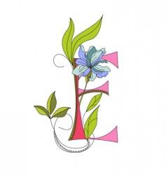 floral font 2 letter e vector image vector image