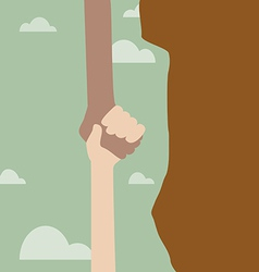 Hand holding another hand from falling vector image