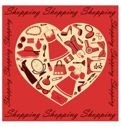 Heart shopping vector image vector image