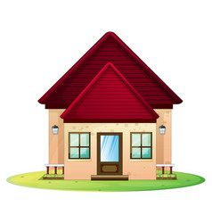 Little house with red roof vector