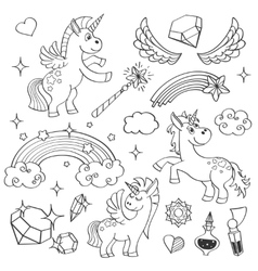 Magic unicorn rainbow fairy wings stars and vector image