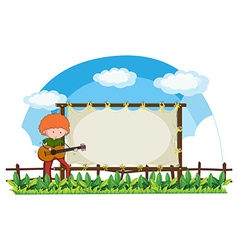 Man playing guitar in the park vector image vector image