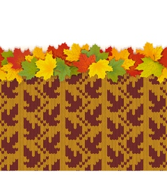 Maple leaves with autumn knitted pattern 1 vector