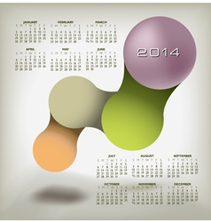 Modern 2014 Calendar upscale colors vector image