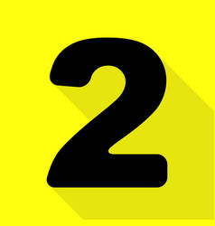 Number 2 sign design template elements black icon vector