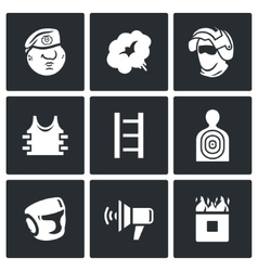Russian special forces icons set vector image vector image