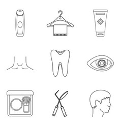 Sanitation icons set outline style vector