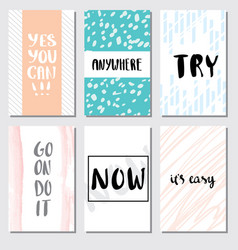 Set motivation card lettering for poster vector