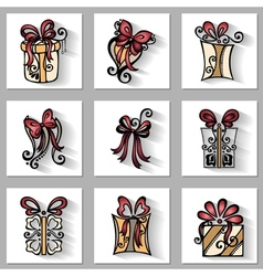 Set of ornamental holiday gift with long shadow vector