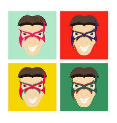 set of superhero in action superhero character vector image