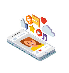 Social media profile page isometric vector