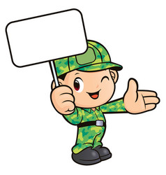 Soldier character is holding a picket isolated on vector