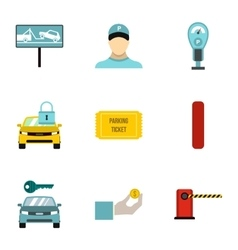 Valet parking icons set flat style vector
