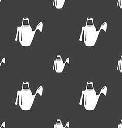 Watering can icon sign Seamless pattern on a gray vector image