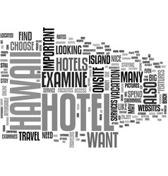 What to look for in a hawaii hotel text word vector