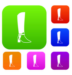 women high boots set collection vector image vector image