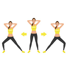 young pretty woman make lunge exercise with hands vector image