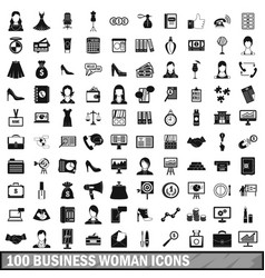 100 business woman icons set simple style vector