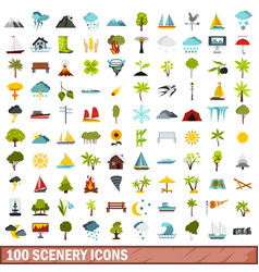 100 scenery icons set flat style vector