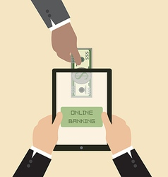 Online banking concept send money via smart phone vector